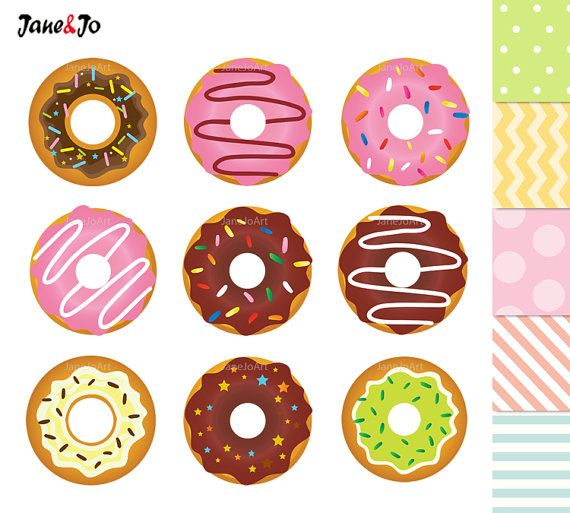50% OFF SALE Donuts Clipart , Donuts Digital Clip Art , Sweet Doughnut , Donut Graphics , Dessert Sweets Clipart Cupcake Toppers illustration  9 Donuts