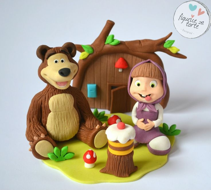 Figurice za torte (cake decorations): Maša i medved figurice za tortu ( Masha and the bear cake topper )