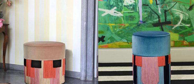 Exotic and happy influences are taking over home decor in 2018 and one of those influences are fringe furniture. It's a bit retro but combined with bold vibrant colours and tropical prints can result in a fun and ecclectic space.