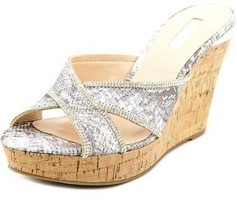 GUESS Eleonora Women Open Toe Synthetic Silver Wedge Sandal.