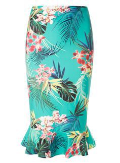 Tropical Print Peplum Pencil Skirt from Dorothy Perkins £24,00