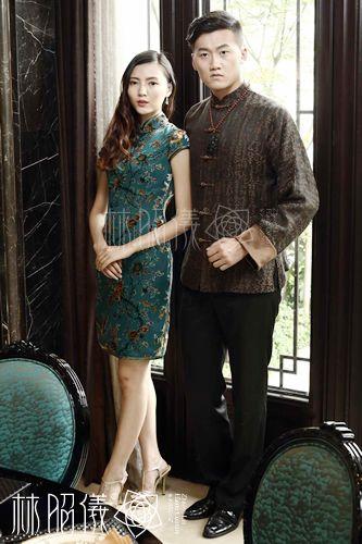文字柄×ブラウン地×長袖メンズ×香曇紗シルク・高級チャイナ服 - China Princess(高級チャイナドレス----林昭儀ZhaoyiLinのオリジナル・デザイン)