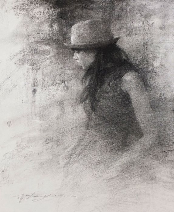 "HSIN-YAO TSENG - Drawings: KP with Fedora, Charcoal on Paper  10""x8""  2012"