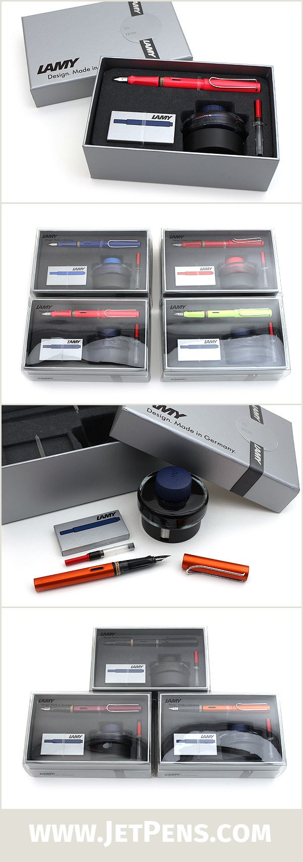 Lamy Gift Sets are great for the upcoming holidays! Each set contains a Lamy Safari, Vista, or Al-Star fountain pen, plus bottled ink, a pack of cartridges, and a converter.