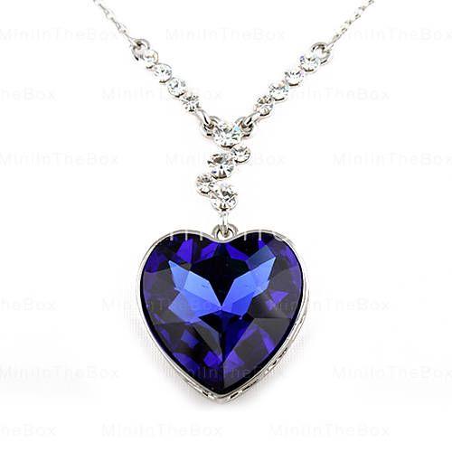 Moderigtigt Alloy Crystal hjerte mønster halskæde