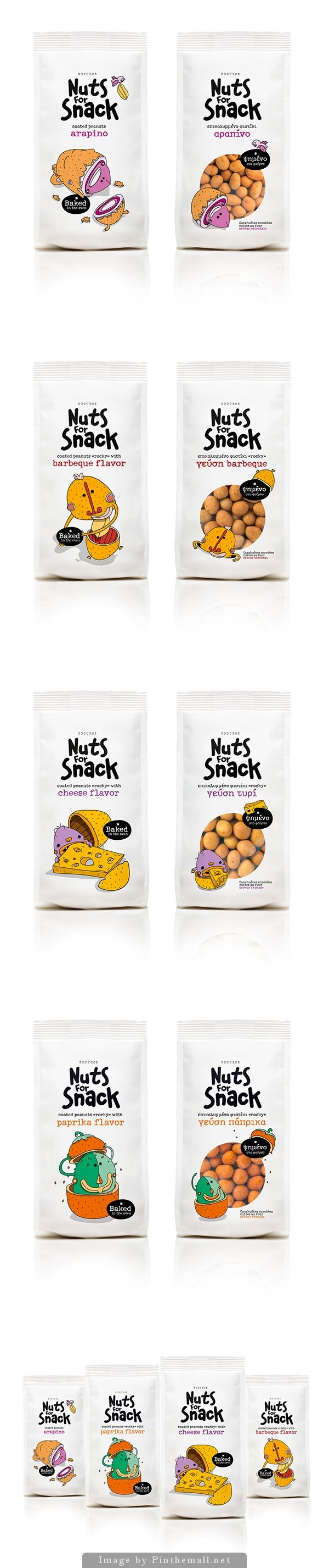 Nuts for Snack #packaging design inspiration. Cute drawings on the front.