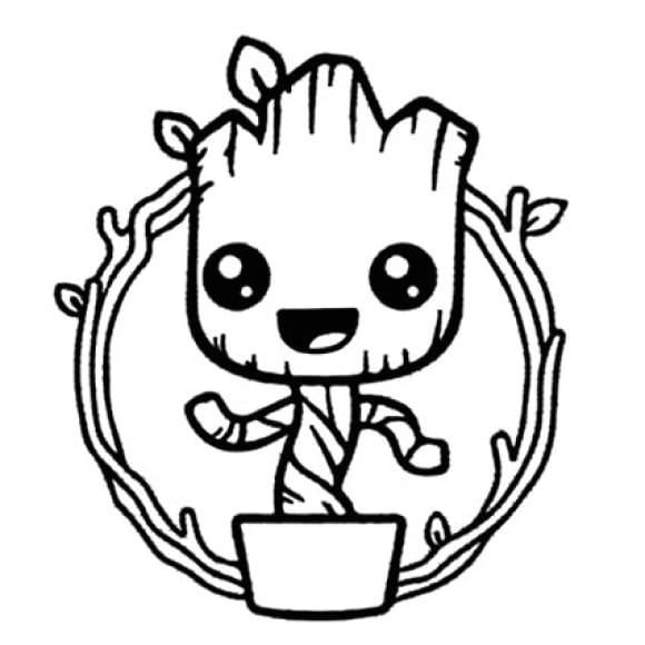 Baby Groot Coloring Page Free In 2020 Baby Groot Drawing Coloring Pages Baby Groot