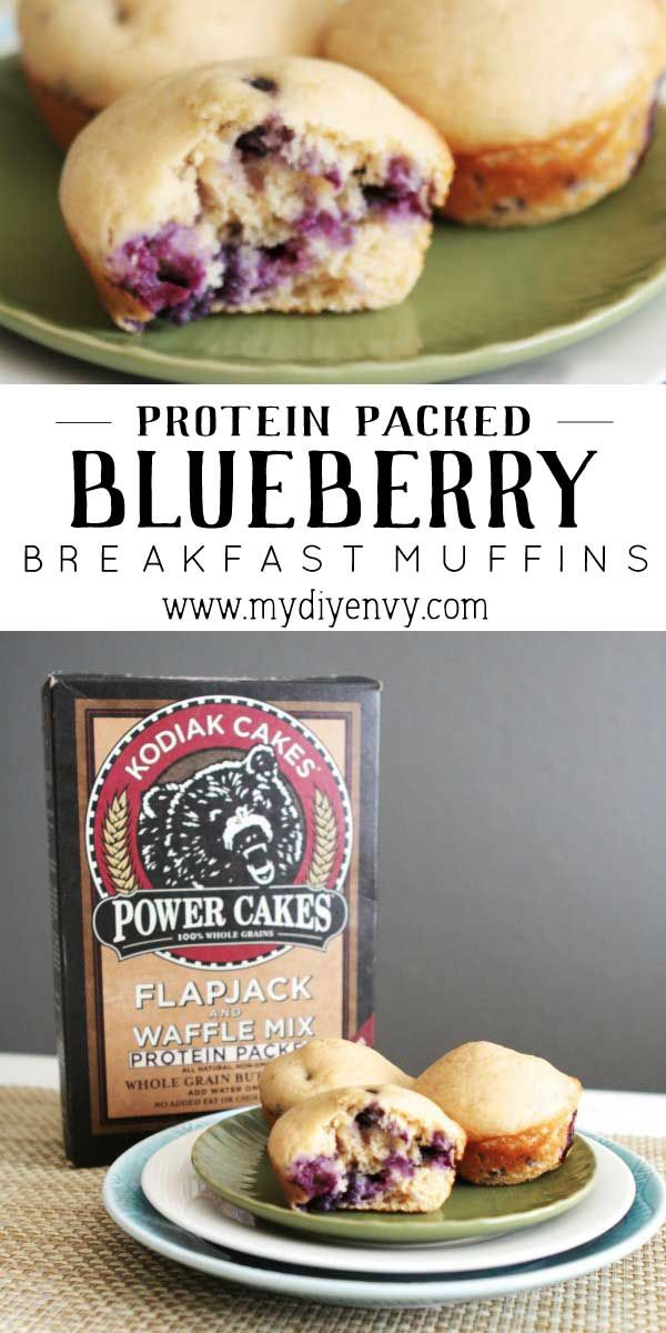 Get a good start to your morning with a protein packed blueberry muffin! These muffins make a great on the go freezer meal too! | www.mydiyenvy.com