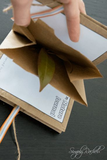 Make your own nature journal from paper bags with pockets for collecting treasures