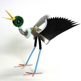 Ann P. Smith makes whimsical little robotic sculptures from broken electronics and machine parts which are sold in shops and galleries and also in her own Etsy store online.