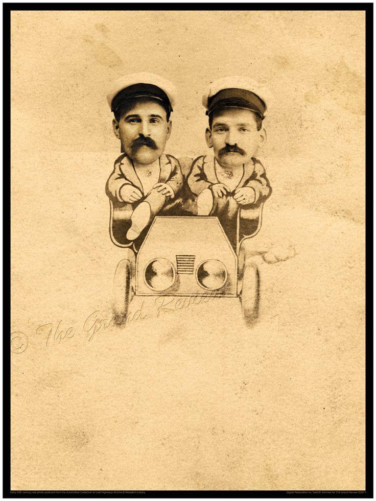 Antique Car Print - Our Midway Souvenir - Those Moustache Guys Out On A Jaunt