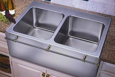 Drop In Apron Front Sink : Mfg stainless steel equal double bowl apron front drop-in kitchen sink ...