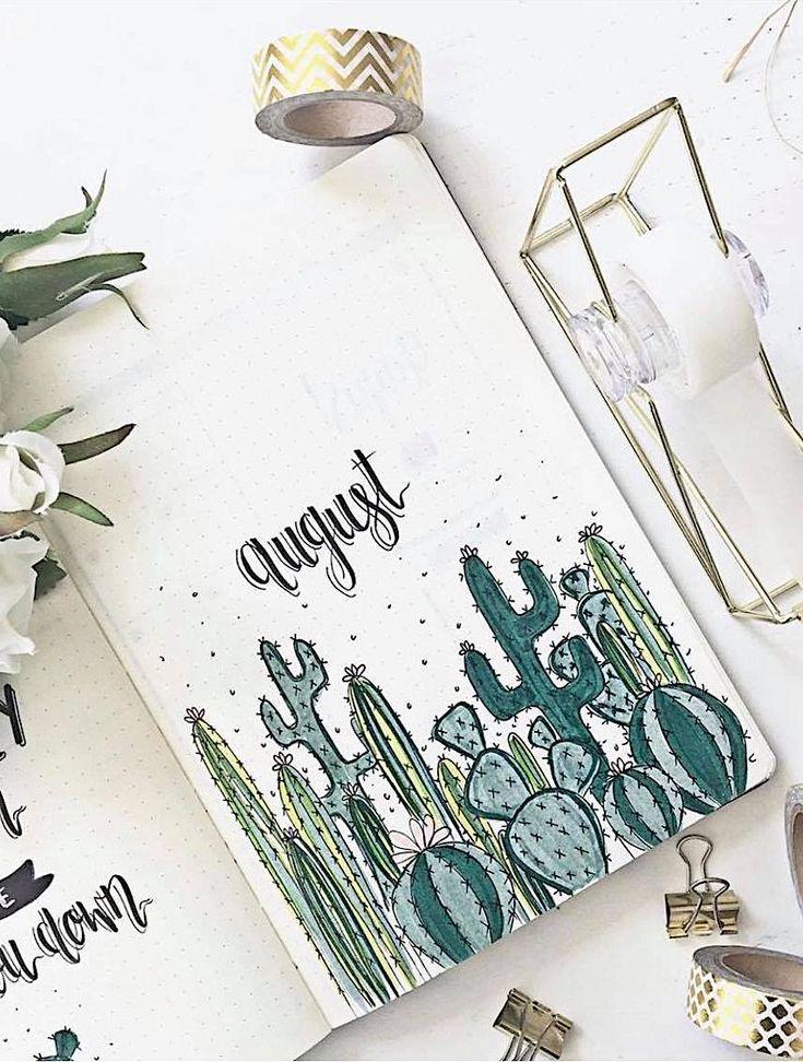 Cactus inspired bullet journal spread
