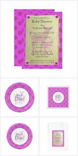 Purple Doe and Pink Fawn Polka Dots Baby Shower