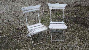 Pair of unrestored German folding garden chairs - £120