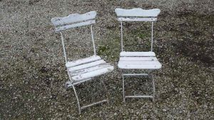 Pair of unrestored German folding garden chairs - £120