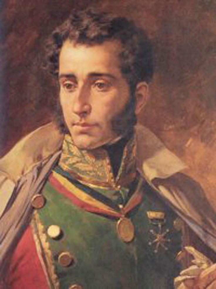 """Antonio José de Sucre (1795-1830). A young aristocratic Venezuelan """"criollo"""", from a very young age joined the war against the Spaniards. He became famous for his military genius, particularly displayed in the battle of Ayacucho (Perú, 1824). He was assasinated in 1830, and the news badly aggravated Bolívar's health. Writing to Santander, Bolívar had said """"I am the man of the difficulties, you are the man of the laws, and Sucre is the man of the war""""."""