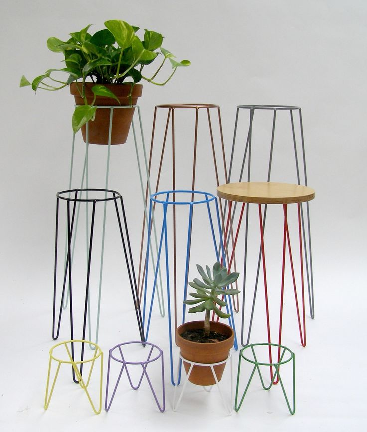 Mid Century inspired metal plant stands for indoor and outdoor use available in: Copper, White, Black, Blue, Grey, Mint. Sizes: LGE: 75x 37cm Ring 20cm STD: 50x