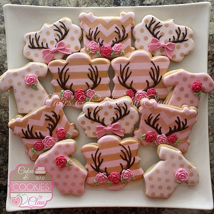 Antlers, Roses & Bows Girl Baby Shower Cookies