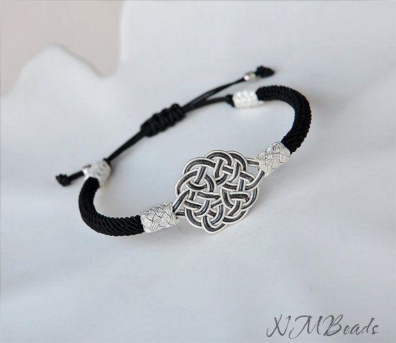 Fine Silver Celtic Knot Cuff Bracelet in Black by NMBeadsJewelry