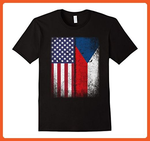 Mens American Czech Flag T-shirt Czech Republic Heritage Pride 3XL Black - Cities countries flags shirts (*Partner-Link)