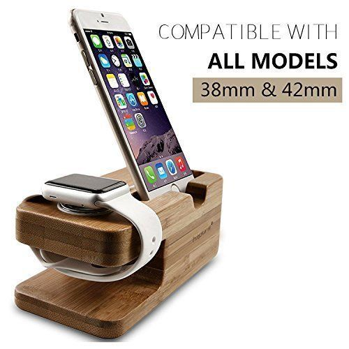 Apple Watch iPhone Charging Charger Stand Bamboo Dock Station iWatch Phones New #Bamboo