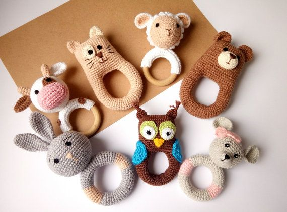 Baby rattle Baby teether Crochet rattle Cotton by ArtHappyShop