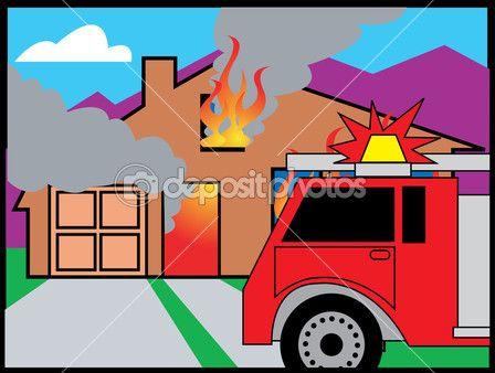 Пожарная машина перед горящий дом
