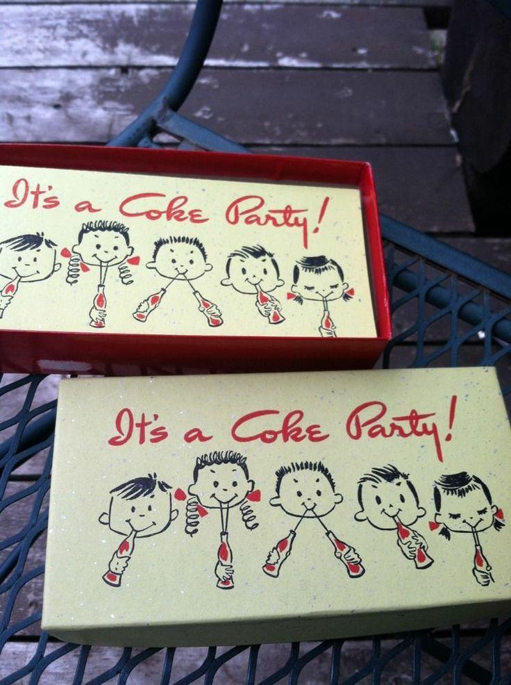Vintage COKE Party Invitation Original Box Lot 10 Rare Unusual