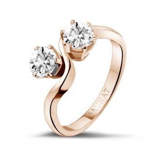 Roodgouden Diamanten Verlovingsringen - 1.00 caraat diamanten Toi et Moi ring in rood goud