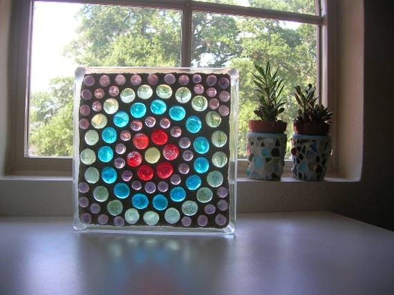 Mosaic Art on Glass Block