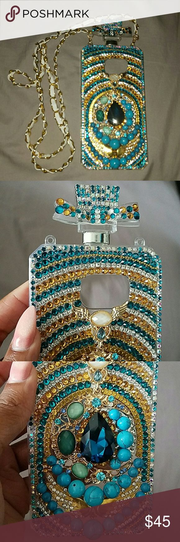 Bohemian bling phone case Samsung galaxy s7 Bohemian jeweled perfume bottle case with white and gold strap, compatible with Samsung Galaxy S7 Tmobile Samsung   Accessories Phone Cases