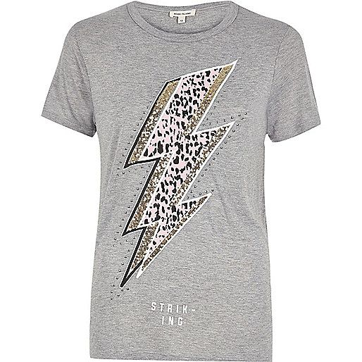 Grey glitter lightning print T-shirt - print t-shirts / vests - t shirts / vests - tops - women