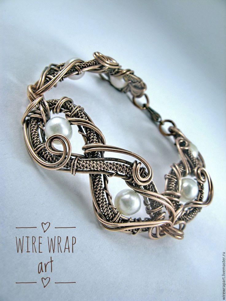 """Купить Брслет """"Лазурная волна"""". Wire Wrap. Медный с жемчугом - золотой, натуральный жемчуг"""