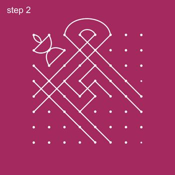 8x8 Dot Rangoli Step 2