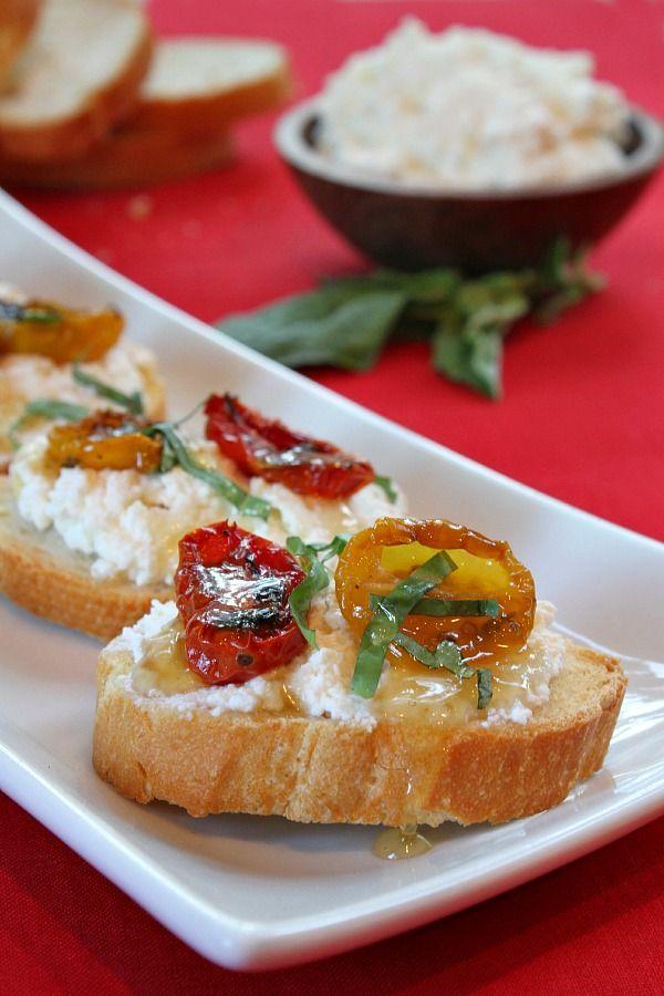 Honey Tomato Bruschetta with Ricotta