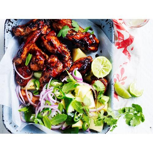 Pineapple huli huli chicken wings recipe - By Australian Women's Weekly, Tangy, sticky, sweet pineapple huli huli chicken wings! These beauties are quick, simple, and the perfect choice for dinner tonight!