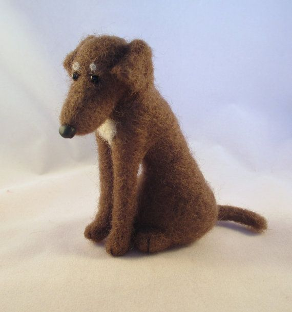 modflowers: needle felted chocolate lab dog by FlomopStudio
