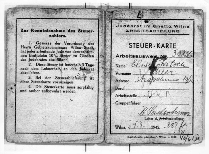 Work certificate from the Vilna Ghetto, issued by the Judenrat Labour department - The first Yellow Schein Aktion in the Vilna Ghetto took place on 24/10/1941 Read more.