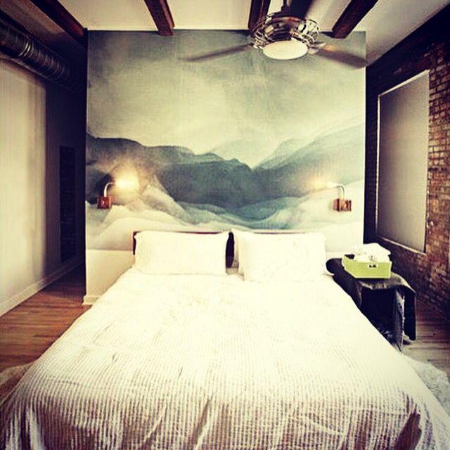 Фотообои в спальне, акварельный пейзаж  #акварель #пейзаж #классика #староефото…