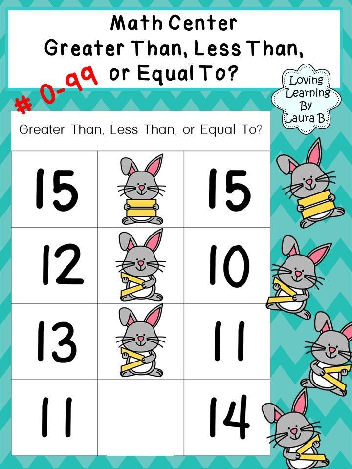 This Product Can Be Used For Preschool And Primary Grades Included Bunnies Holding Greater Than Less Than Equal To Symbol Math Center Teacher Cards Math