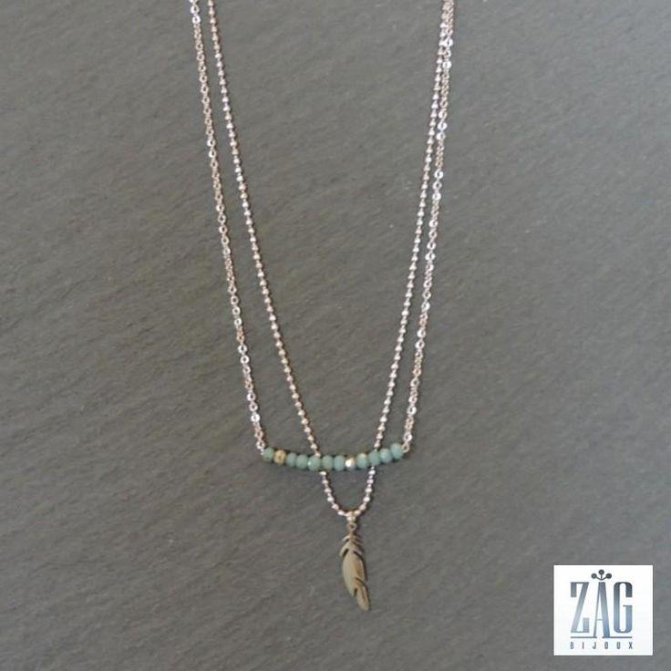 collier zag plume et perles acier blanc 4020 zag bijoux pinterest boutiques. Black Bedroom Furniture Sets. Home Design Ideas