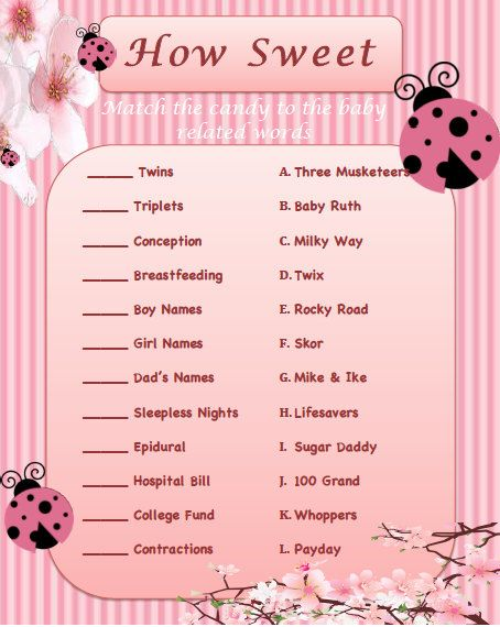 Pink Lady Bug Baby Shower Matching Game - Instant Download