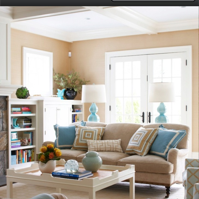 Love these colors togetherDecor, Ideas, Contemporary Living Room, Living Rooms, Blue, Livingroom, Colors Schemes, House, Families Room