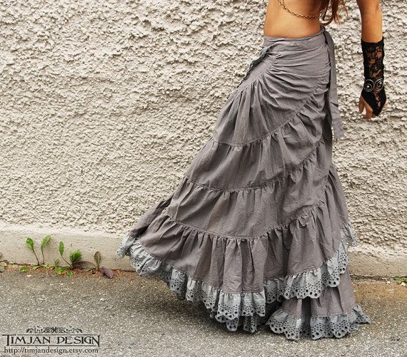 STEAMPUNK LINEN SKIRT - Wedding Bride Bohemian Burning man Hippie Boho Tribal Steam punk Belly Dance Burlesque Faery - Silver Grey Gray