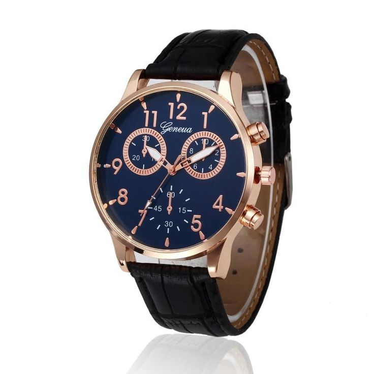 Leather Watch Men Luxury Retro Design Two Eyes Digital Dial Leather Band Quartz Wristwatches Casual Business Mens Watches Dec14 #Affiliate