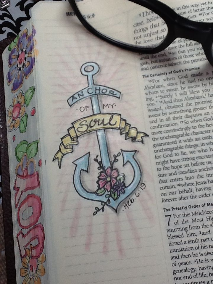 """Hebrews 6:19 - """"He is my Anchor"""" - Bible Journaling by Nola"""