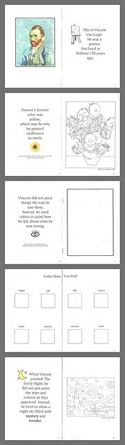 Van Gogh Study: Printable Book and Starry Night Printmaking Art
