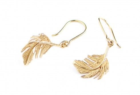 Classic Feather small hook gold vermeil earrings