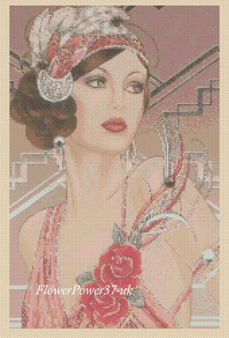 Cross stitch chart Art Deco Lady No 121 FlowerPower37-uk FREE UK P&P   eBay